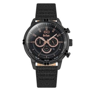 LEE COOPER Dual Time Black Leather Strap
